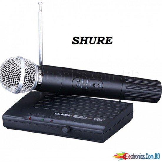 SH-200 Portable Professional VHF Wireless Handheld Microphone Dual Channel Transmitter Microphone Set for Studio Karaoke Radio