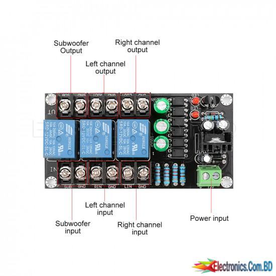 300W Amplifier Speaker Protection Board 2.1 Channel Relay Digital Speaker