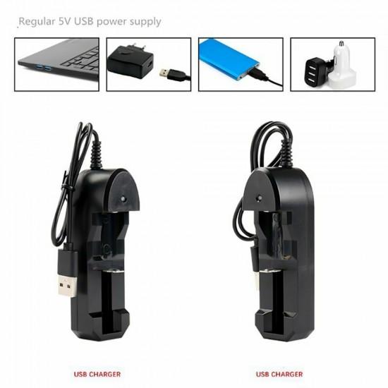 3.7V 18650 USB Charger For 18650 14500 10400 16340 26650 Single-slot Charger