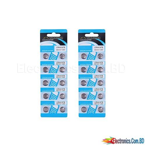 1Pcs AG13 A76 LR44 357A S76E G13 Button Coin Shaped Cell Battery 1.55V Alkaline Button Batteries