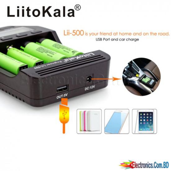 LiitoKala - Lii-500S Lii 500S 500 LCD Smart Battery Charger, Universal, 1.5V, 4.35V, 3.7V, 18650, 17500, 26650, AA, AAA, NiMH Battery
