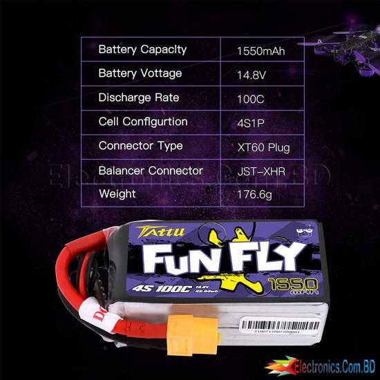 Tattu FunFly 4S 1550mAh 100C 14.8V LiPo Battery Pack with XT60 Plug for RC