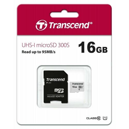 Transcend 16GB microSDHC 300S Class 10 SD Memory card Life Time Warranty