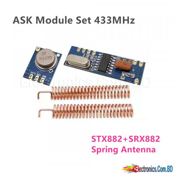 433MHz ASK Module 100 Meters RF STX882 Transmitter Receiver Antenna SRX882 Module