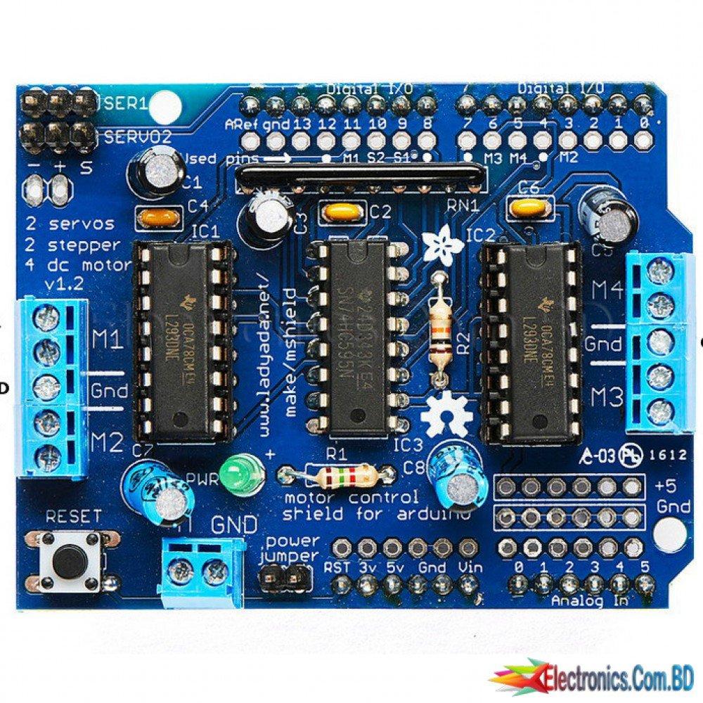 L293d Dual Dc Motor Controller Circuit Shield For Arduino