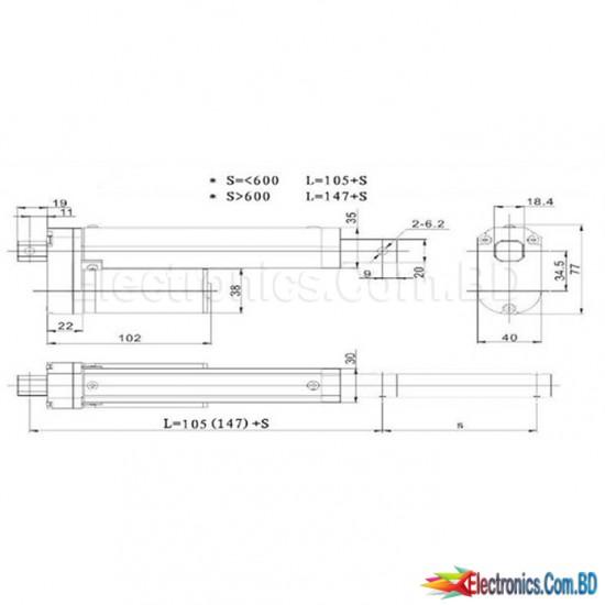 DC12V Linear Actuator Moto 1000N Aluminium  Alloy 300mm 12 inch Stroke