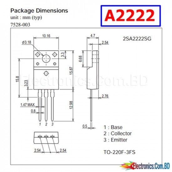 A2222 2SA2222 TO-220F new and original (1Pcs)